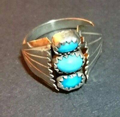 NAVAJO Old Pawn Vintage Turquoise Sterling 925 Silver Ring NATIVE AMERICAN