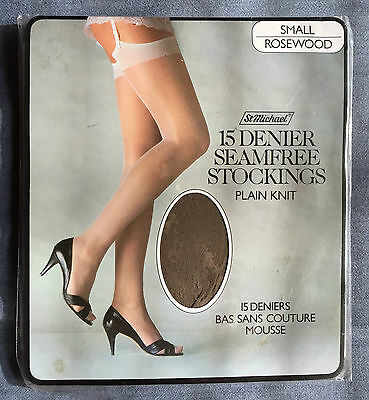Vintage St Michael Nylon stockings Size Small Colour Rosewood 15 Denier
