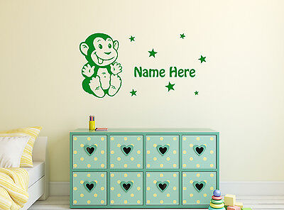 Personalised Monkey Baby Any Name Wall Sticker Mural Home Decal Vinyl Art Decor