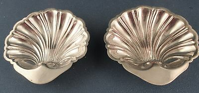 Set of 2 Silver-on-Copper Clam Shell Open Salt, Cellar, Dish