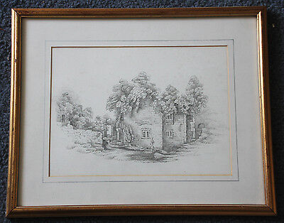 Superb original antique drawing of an old cottage and trees