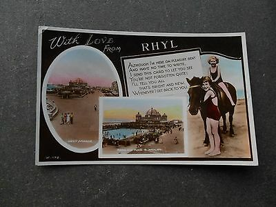 Postcard - RHYL With Love From ... Real Photo - Denbighshire