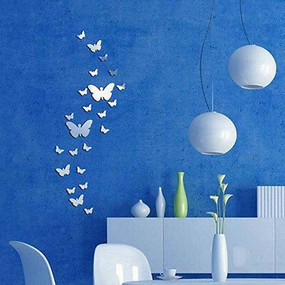 30pcs Home Comfy DIY Art Modern 3D Acrylic Mirror Butterfly Wall Stickers