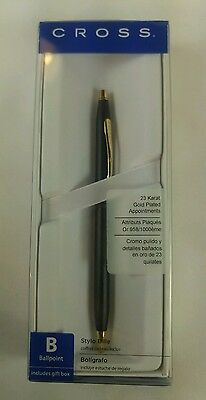NEW Cross Ballpoint Pen 2502s Classic Century Black 23K Gold Plated Appointments