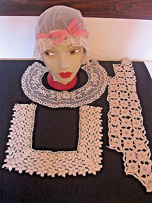 Vtg Victorian/Edwardian 3 Crochet Lace Collars & Bed Slumber Sleep Night Cap