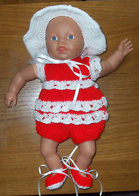 Hand Knitted  Dolls   Outfit To Fit Approx 12/14 Inch Doll