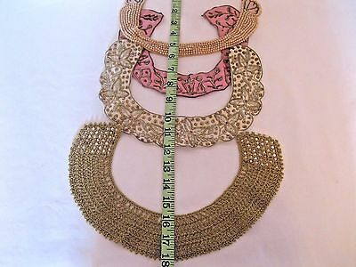 Vtg Lot of 4 Choker Collars Metallic  Embroidered Beaded Glentex Baar Beards