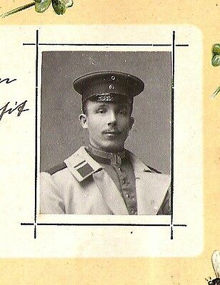 1907 SOLDIER LOVE LETTER clover leaf Antique photo Rppc Photo tinted POST CARD