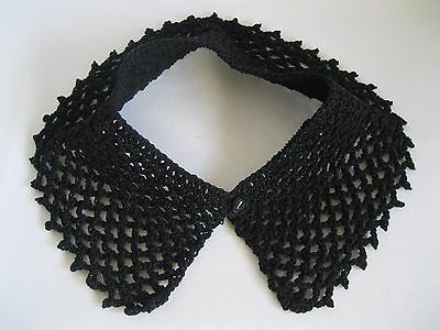 Vintage Black Cotton Crochet Fashion Collar