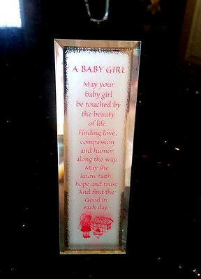 Sravina It's A Baby Girl Pink Nursery Decor Mirror Reflection 09014 Poem Plaque