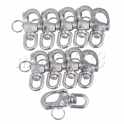 10 x Small 304 Stainless Steel Snap Shackle Quick Release Swivel Bail Rigging