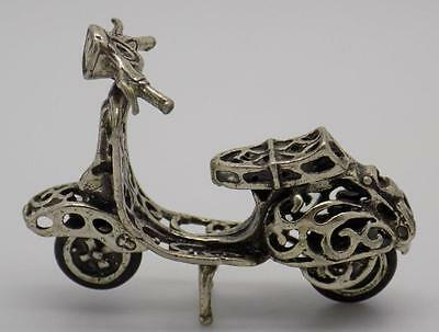Vintage Solid Silver ICONIC Vespa Motorcycle Miniature - Stamped - Italian Made