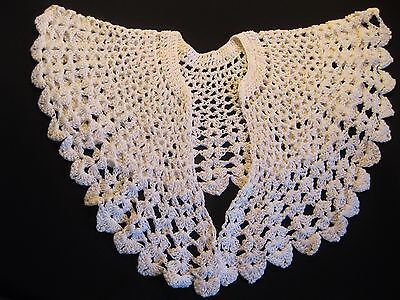 Stunning Vintage White Hand Crocheted Fancy Dress Collar This is really a beauty