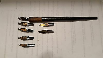 Flicker Gold Pen Tips For Vintage x 7 & One No.61 Reliance Pencil Co.