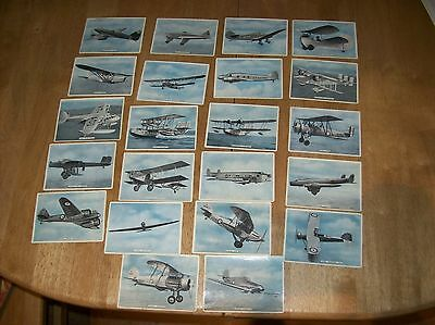 1936 ardath fighting & civil aircraft cigarette cards set of 22/25
