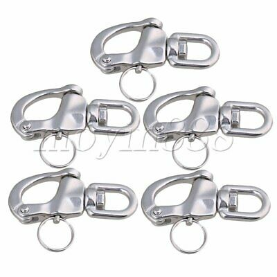 5 x Small 304 Stainless Steel Snap Shackle Quick Release Swivel Bail Rigging
