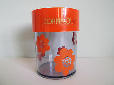 Erik Kold orange retro floral storage jar/container/canister Danish retro