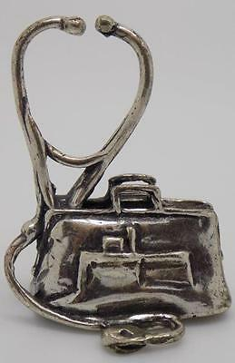 Vintage Solid Silver Doctor / GP Bag Miniature - Stamped - Made in Italy