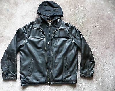 Columbia Black Leather Jacket with hood Men's  L, EUC