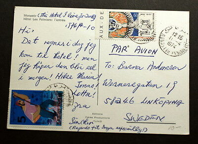 Tunis 1974 post card to Sweden   F-136