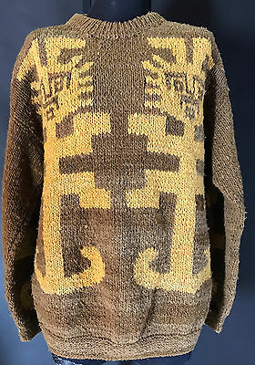 VTG Heavy Wool Ecuador Sweater Hand Knit Large