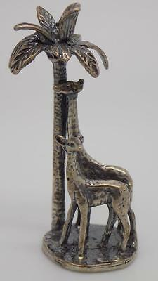 19g Vintage Solid Silver Giraffes Under a Palm Tree Miniature - Stamped - Italy