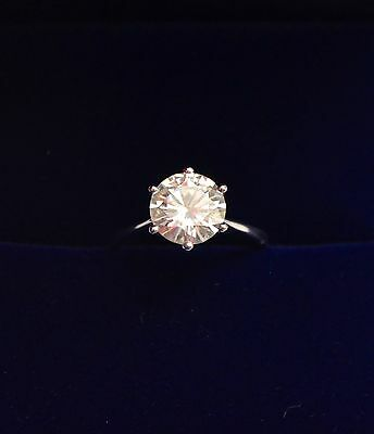 Charles and Colvard Moissanite Round Cut 2.5ct White Gold Engagement Ring