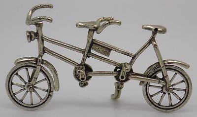 Vintage Solid Silver Tandem Bicycle Miniature - Dollhouse - Stamped - Italian