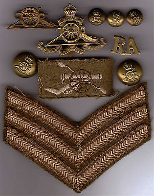Royal Artillery WW2 Brass Cap Badge, Lapel Badge, Sergeants Stripes and buttons
