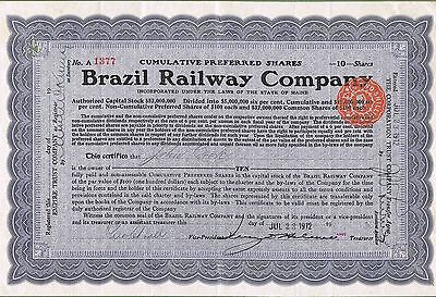Brazil Railway Company 1912 certificate for 10 shares