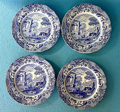 Authentic Vintage Copeland Spode Blue Italian Large Side Plates X 4