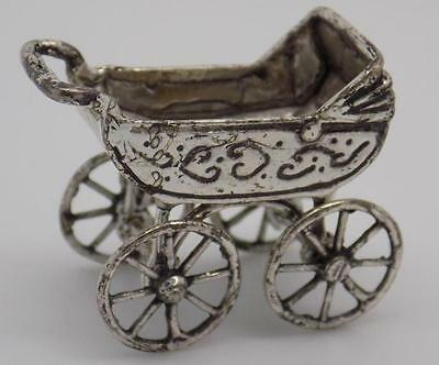 19g Vintage Solid Silver Pram Miniature - Dollhouse - Stamped - Made in Italy