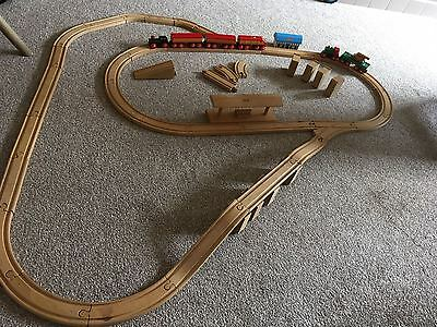 Large Job Lot Brio Wooden Train Set Track Carriages Shed Hut