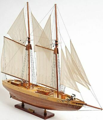"Bluenose II Schooner Sailboat 38.5"" Built Handmade Wooden Model Ship Assembled"