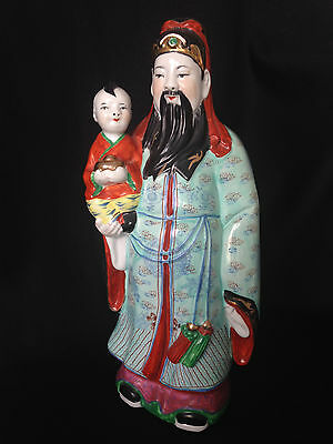 """Antique Chinese Famille Rose 13"""" porcelain figurine signed"""