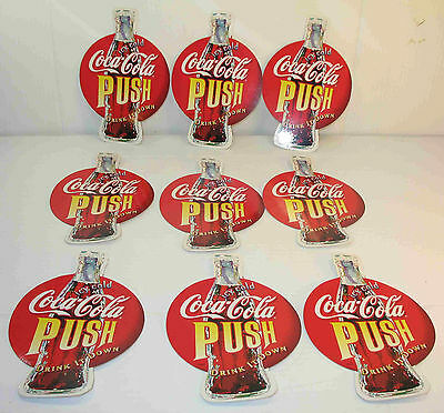 Dealer Lot 9 Coca-Cola PUSH PULL Decal  Store Glass Door ICY COLD DRINK IT DOWN