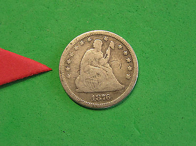 L-too: 1876 SEATED LIBERTY QUARTER ~~ VG ~~ FULL RIMS OBV & REV ~~
