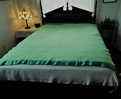 Vintage Ayerspun Pure Wool Mint / Lime Green Blanket By Ayers  Made In Canada