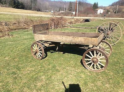 Antique Wagon , Four Wheeled Cart, Wood Box Wagon , Stunning Primitive Piece