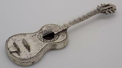Vintage Solid Silver Guitar Miniature - Stamped - Made in Italy