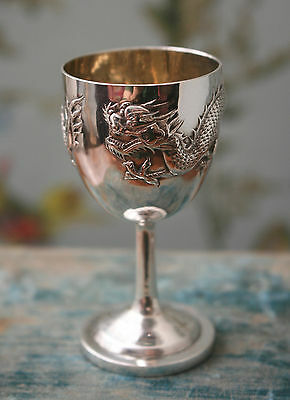 Antique Qing Solid Silver Chinese Egg Cup, Fabulous Dragon, Gilt Lined, Hallmark