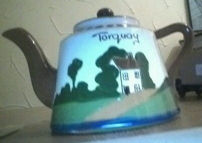 Watcombe pottery devon torquay ware small teapot du ee come in an ave a cup of t