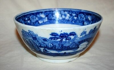 Antique George Jones 'Wild Rose 1784' Flow Blue & White Footed Pottery Bowl Rare
