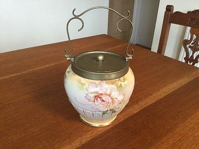 Early 20th C Dixon Carnation Lidded Biscuit Barrel
