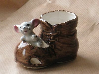 MOUSE in a BROWN BOOT of the FOOT IN FOOT OUT SERIES Ceramic Pottery Figure.