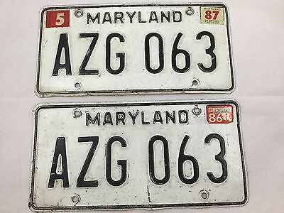 Set of 1986 Maryland Passenger Auto License Plates Black and White AZG 063