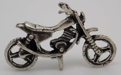 Vintage Solid Silver Motorcycle Miniature - Dollhouse - Stamped - Italian Made