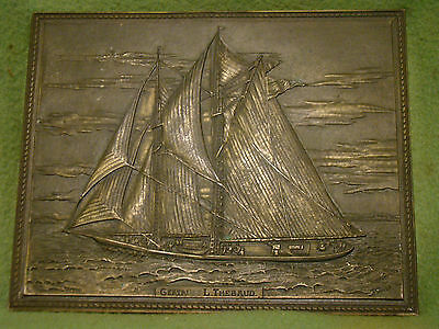 Rare Gertrude L Thebaud bronze signed plaque Sargent Co. I Smith Blunose races