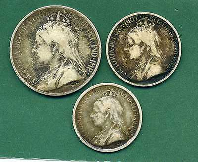 1901 Cyprus 9 Piastres, 4 And Half Piastres And 3 Piastres.