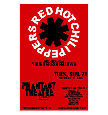 Red Hot Chili Peppers 1989 Cleveland Concert Poster